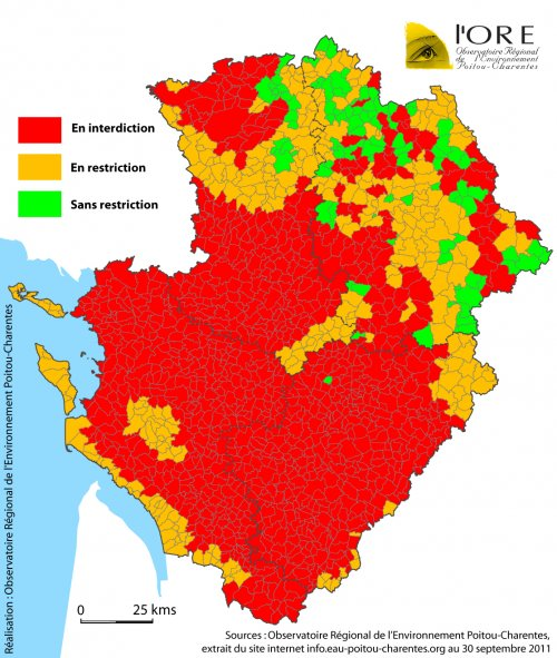 Carte des communes soumises à restriction fin septembre 2011